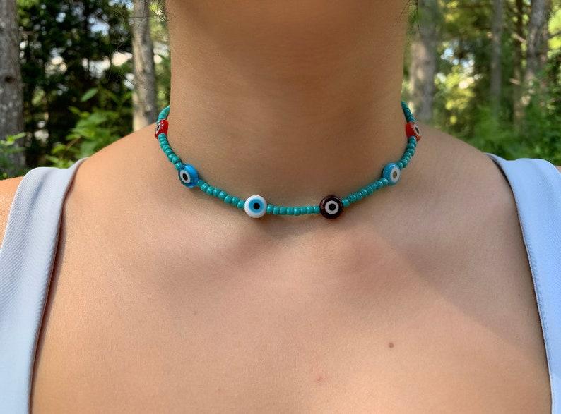 Evil Eye Choker Necklace Evil Eye Protective Necklace Green-Turquoise Bead Choker 10mm Evil Eye