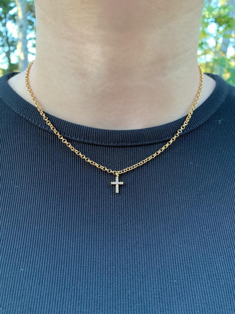 Dainty Cross Charm Choker Necklace Cross Pendant 24k Gold Plated Necklace CZ Cross Necklace Small Cross Necklace Chain Necklace