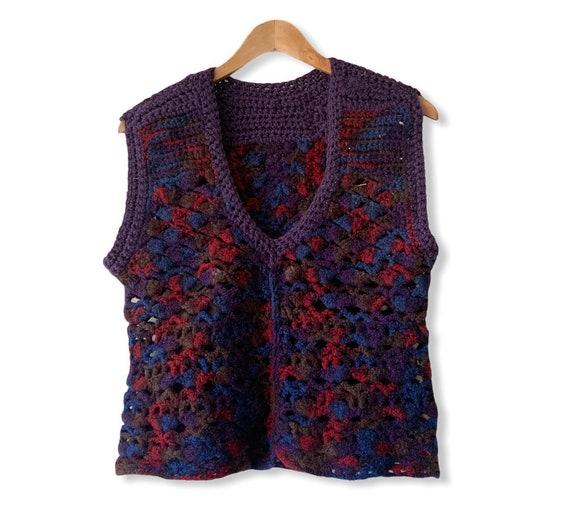 Vintage 70's Hippie Hand Crochet Sweater Vest. Ha… - image 2