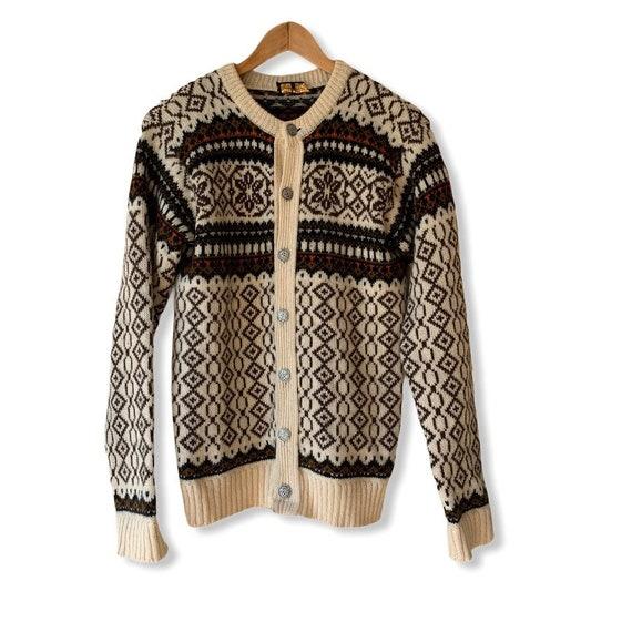 Vintage Fair Isle Wool Cardigan Sweater. Made in N