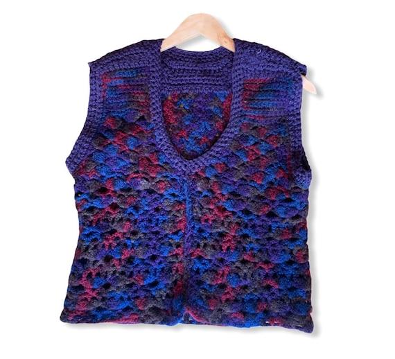 Vintage 70's Hippie Hand Crochet Sweater Vest. Ha… - image 1