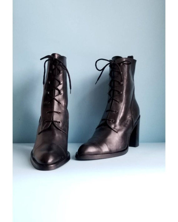 90s Black Leather Boots, Lace Up Leather Boots, Vi