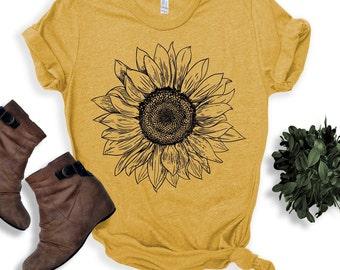 Sunflower - Sunflower Shirt, Floral Tee Shirt, Flower Shirt,Garden Shirt, Womens Fall Shirt, Sunflower Tshirt Sunflower Shirts. Sunshine Tee