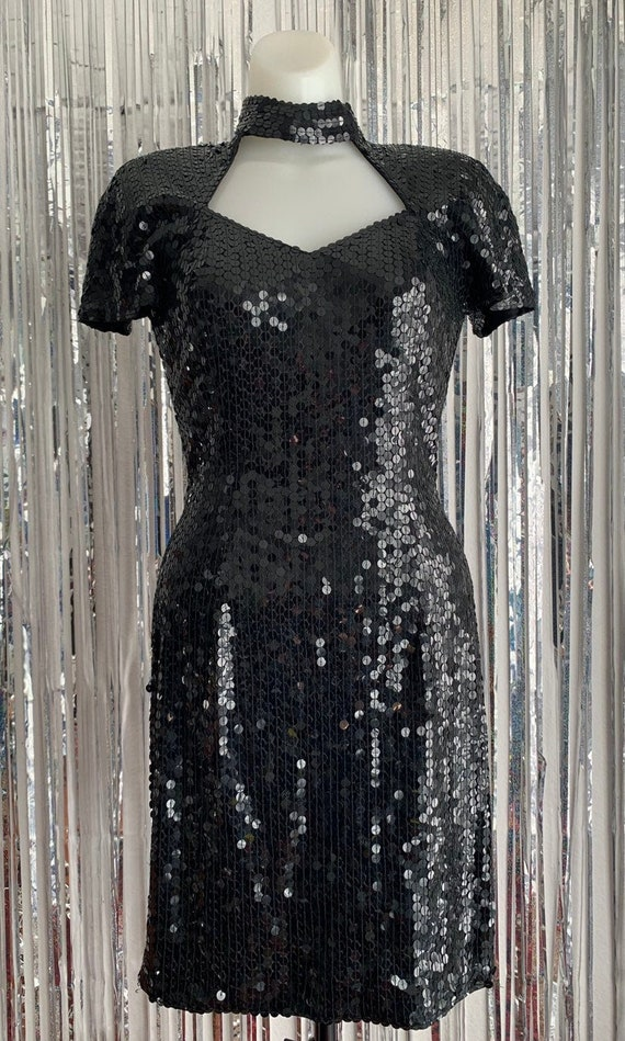 90s Vintage Niteline Black Sequin Party Dress