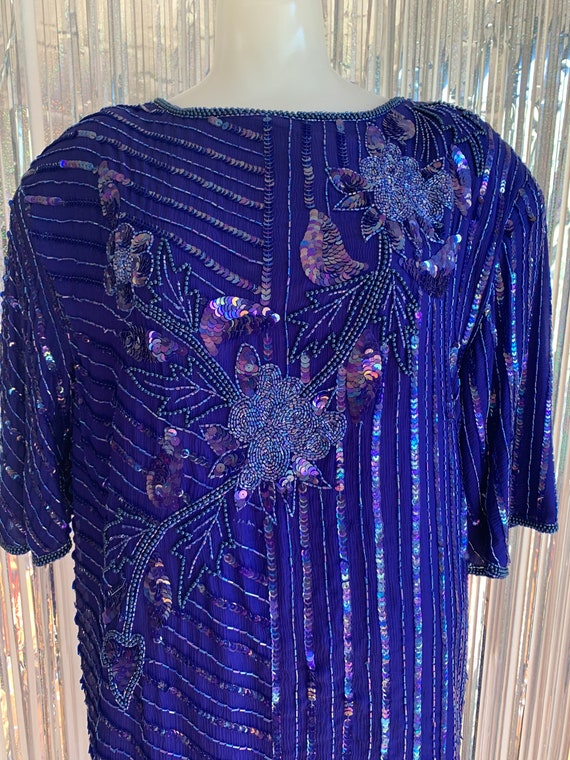Vintage 80s Blue Sequin Plus Size Set