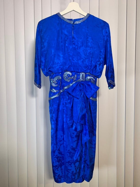 Vintage 80s Petite Blue Silk Dress with Sequins