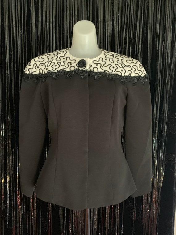 Vintage 80s Tailored Black and White Blazer