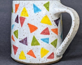 Triangles Mug - 10 fl.oz. Speckled clay stoneware pottery mug, Wheelthrown ceramic coffee tea cup, Microwave dishwasher safe, 90s nostalgia