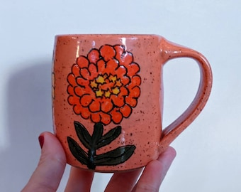 Zinnias Mug in Soft Pink - 12 fl.oz. Speckled clay stoneware pottery coffee tea cup, Microwave dishwasher safe, Flower garden functional art