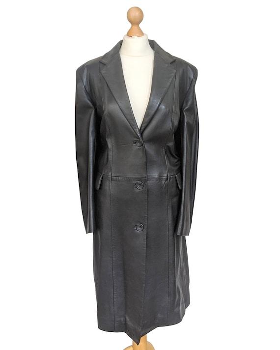Vintage 1980s Mondi Black Luxury Leather Coat