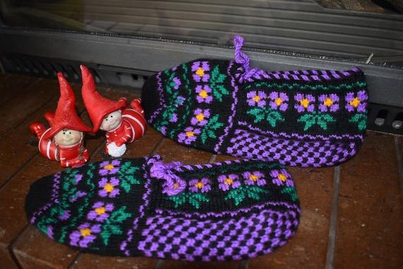 Vintage Socks, Knitted Slippers, Knitted socks, Ha