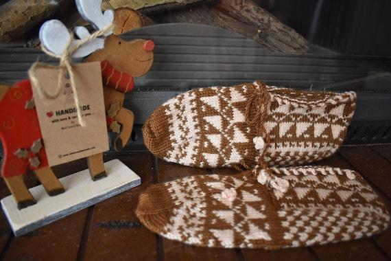 Vintage Socks, Knitted Slippers, Knitted socks, H… - image 1