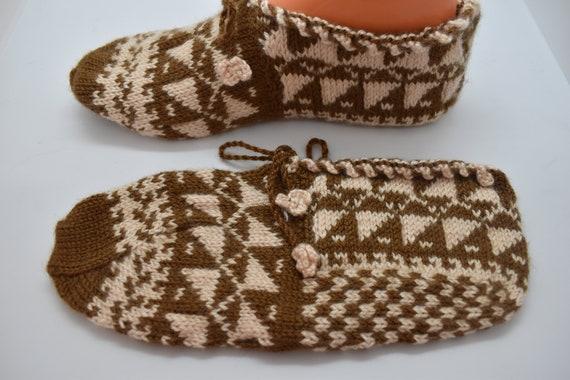 Vintage Socks, Knitted Slippers, Knitted socks, H… - image 2
