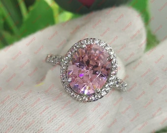 3.80ct Oval Cut Pink Sapphire Rings Beautiful Halo Style Solitaire Engagement Ring for Women White Gold Finish Sterling Silver Size 5-12