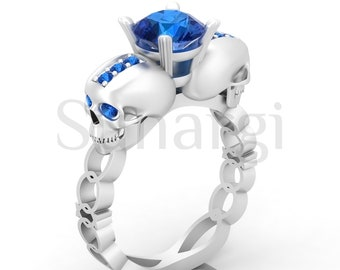 2 Carat Round Cut Blue Sapphire Rings Halloween Party Gothic Skull Ring for Men and Women White Gold Finish over Sterling Silver Size 4-12