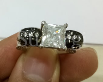 3Ct. Princess Cut, Round Cut White Sapphire Halloween Rings Party Skull Ring for Men & Women White, Black Sterling Silver White Gold Finish