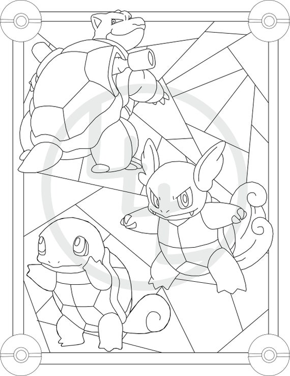 Pokemon Set of 3 Stain Glass Coloring Pages