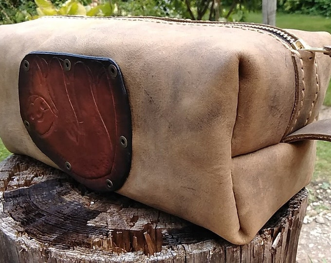 Leather Sloth Dopp Kit; Tool Bag; Artist's Brush Bag; Travel Bag; Cosmetic Bag; Shave Kit; Personalization Available