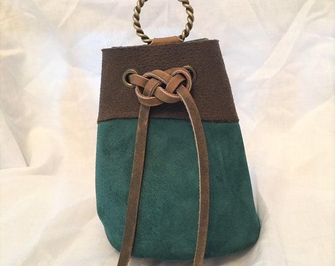 Suede Leather Drawstring Pouch; Medieval Renaissance Coin Satchel; Dice Bag; Many Colors Available; Medium; Personalization Available