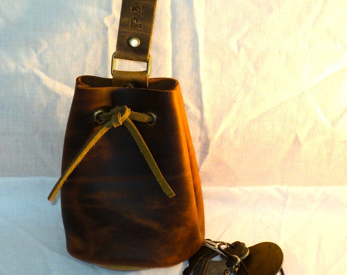 Oiled Leather Drawstring Pouch; Medieval Renaissance Coin Satchel; Dice Bag; Many Colors Available; Medium Size; Personalization Available