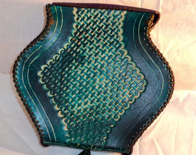 Leather Potion Bottle Belt Pouch; Medieval Hip Bag; Renaissance Coin Satchel; Emerald Green and Purple LARP Waist Purse; Personalization Too