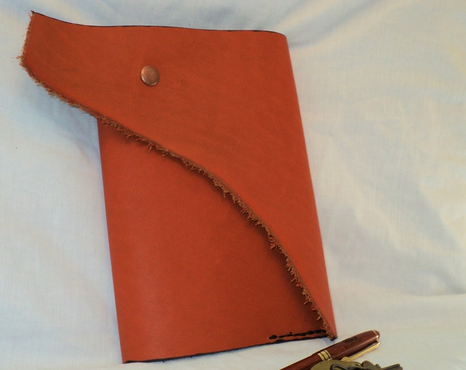 Orange and Black Horween Leather Journal; Refillable Notebook Cover; Style 2; Travel Journal; Sketch Book; Personalization Available