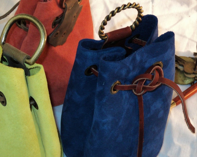 Blue Suede Pig Leather Drawstring Pouch; Medieval Renaissance Coin Satchel; Dice Bag; Many Colors Available; Med. Size;Personalization Avail