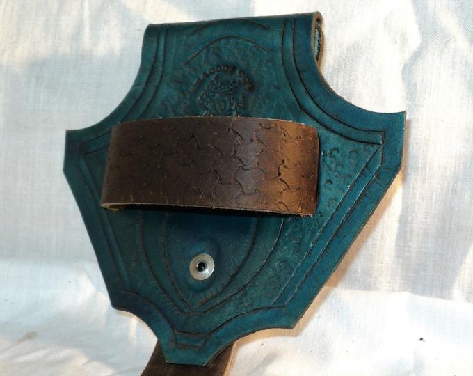 Embellished Green Leather Dragon's Head Belt Loop; Tool Belt; Sword Axe Belt Hanger Dagger Frog; LARP Sword Belt Hanger;Renfaire Weapon