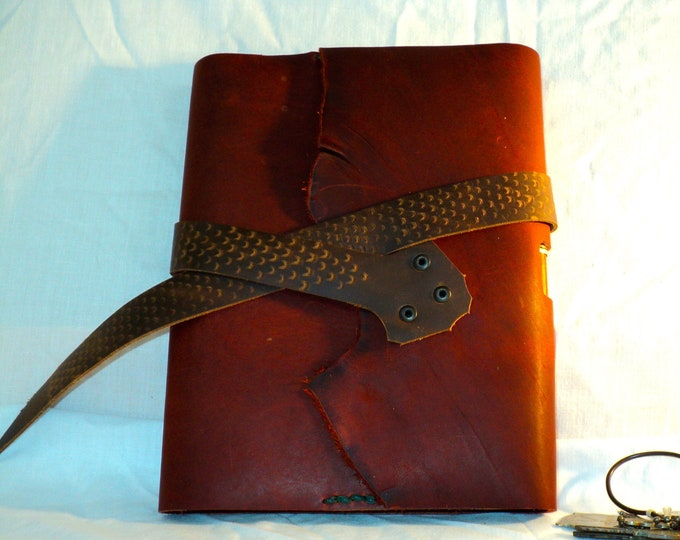 Refillable Journal; Red and Brown Leather; Handmade; Refillable Notebook Cover; Pen Holder and Snake Pattern Strap Closure; Travel Journal