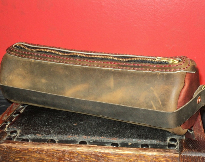 Red and Brown Leather Tubular Bag; Handmade Pencil Case; Zippered Pouch; Art Caddy; Leather Shoulder Bag; Personalization Available