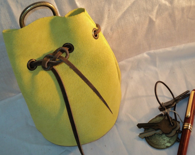 Yellow Suede Leather Drawstring Pouch; Medieval Renaissance Coin Satchel; Dice Bag; Many Colors Available;Med. Size;Personalization Avail