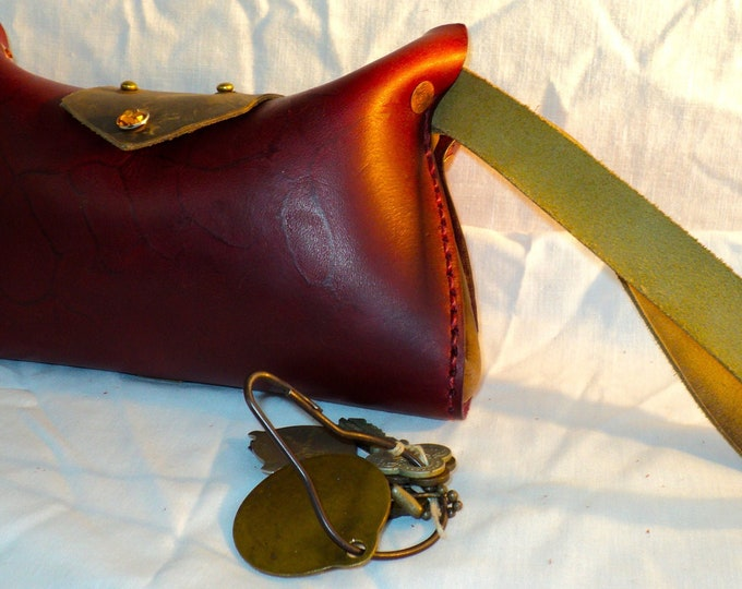 Red Leather Clamshell Clutch; Wristlet Bag; Small Handbag; Wallet & Phone Case; Essentials or Cosmetics Purse; Toiletry / Dopp Kit