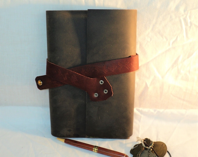 Handmade Brown Leather Journal; Refillable Notebook Cover; Red Pen Holder and Strap Closure; Personalization Available