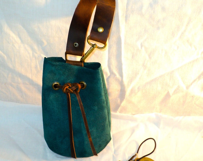 Teal Suede Leather Drawstring Pouch; Medieval Renaissance Coin Satchel; Dice Bag; Many Colors Available; Med. Size;Personalization Avail