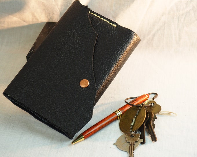 """Black Leather Mini Journal; Refillable Notebook Cover; Button Closure; Pocket-Sized Notebook; 3 1/2"""" x 5""""; Personalization Available"""