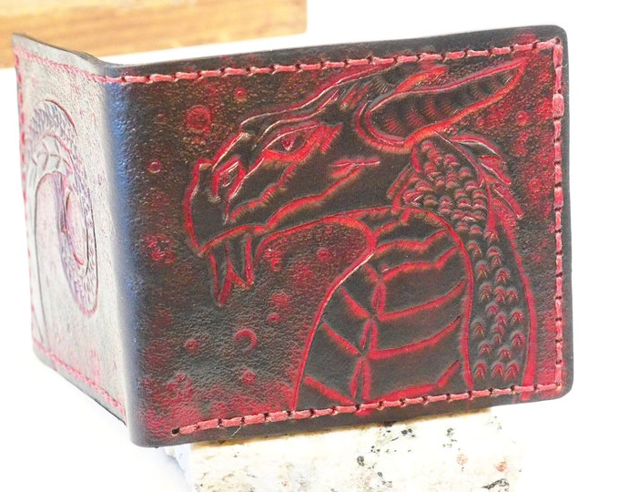 Men's Leather Bifold Wallet; Personalized Custom Handmade Wallet; Red and Black Dragon Wallet; Six Card Slots, Two secret Pockets