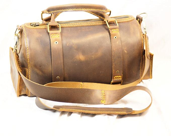 Oiled Leather Day Bag Pocketbook; Weekender Bag (2 sizes); Handbag; Shoulder Bag; Duffel Bag; Travel Bag, Carry-on Luggage; Personalization