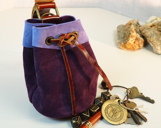 Sky Blue and Purple Medium Leather Pouch Belt Bag; Medieval Satchel Style Hip Bag; Baby Blue Drawstring Handbag; Light Blue Coin Purse