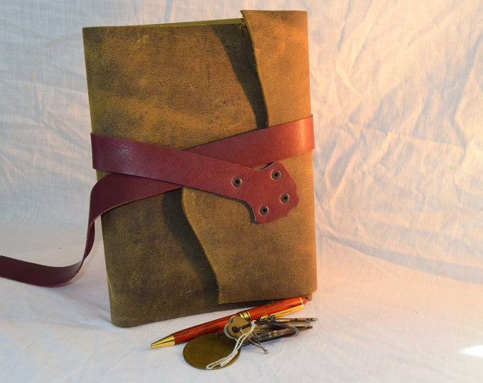 Brown and Plum Leather Journal Handmade; Refillable Notebook Cover; Pen Holder and Strap Closure; Travel Journal; Personalization Available