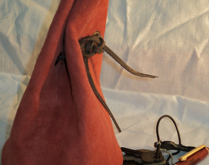 Red Suede Leather Drawstring Pouch; Medieval Renaissance Coin Satchel; Dice Bag; Many Colors Available; Med. Size; Personalization Available