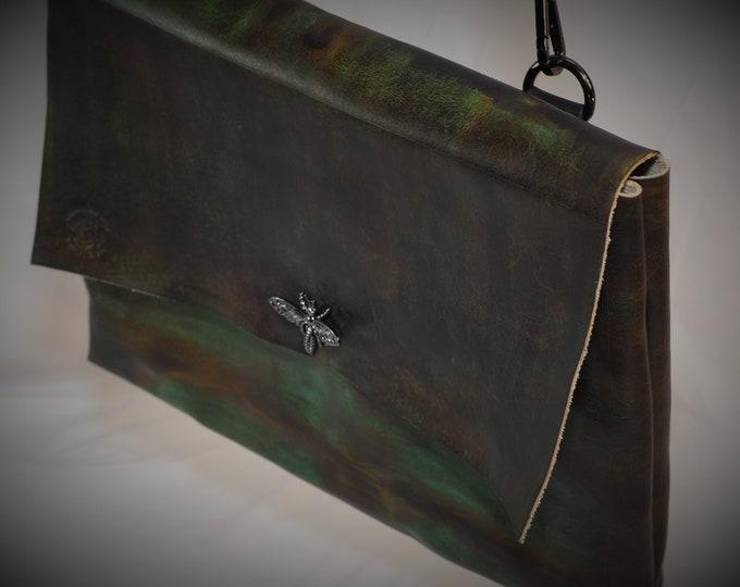 Simple Green Leather Messenger Bag; Black and Green Messenger Satchel; Crossbody Laptop iPad Case