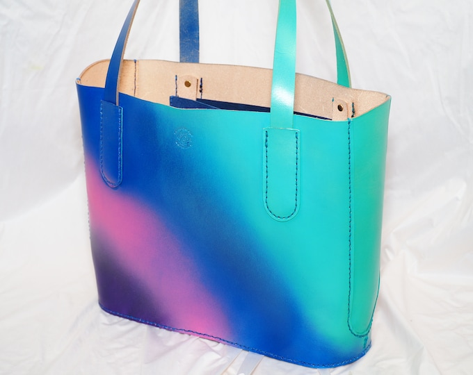 Small Ombre Tote Bag; Shoulder Bag; Shopping Bag; Handmade Leather Tote