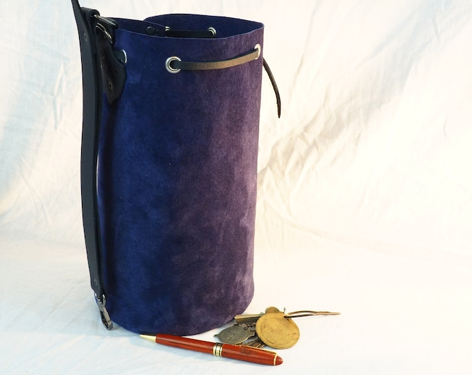 Custom Blue/Black Suede Leather Drawstring Pouch With Pentacle; Medieval Renaissance Coin Satchel; Dice Bag; Many Colors Avail.; Med. Size