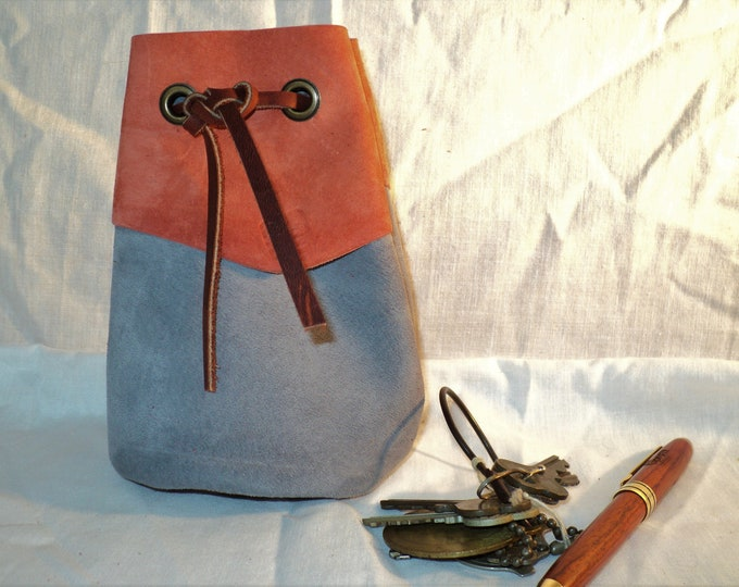 """Gray Leather Drawstring Pouch; Medieval Renaissance Coin Satchel; Dice Bag; Small Size 4"""" x 6"""" tall; Personalization Available"""