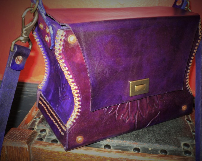 Medieval Style Purple Red Flower Leather Bag; Shoulder Bag; Cross Body Bag; Pocketbook; Gerber Daisy; Personalization Available