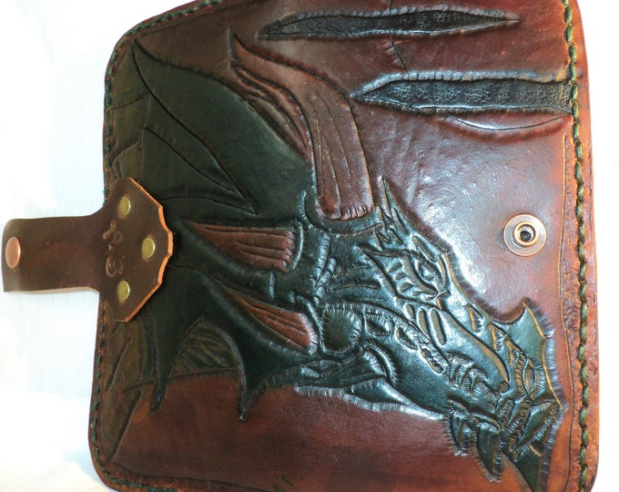 Dragon Themed Leather Wallet of Coin Carry; Completed Custom Order; Snap Closure; Personalization Available; Men's Wallet; Women's Wallet