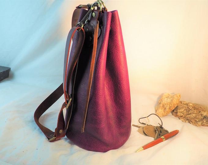 Custom Leather Purple Pouch Purse; Drawstring Pouch Shoulder Bag; Extra Large Satchel; Handmade Leather Bucket Bag; Crossbody Purse