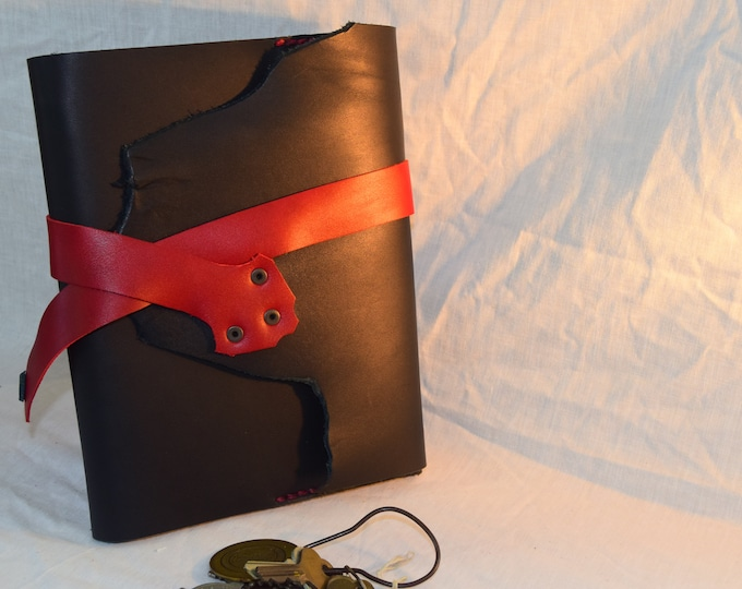 Black and Red Leather Journal; Refillable Notebook Cover; Pen Holder and Strap Closure; Travel Journal; Personalization Available