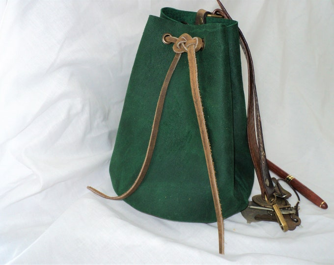 Large Leather Pouch Belt Bag; Green and Brown Medieval Satchel Style Hip Bag with Hand-tooled strap; Drawstring Handbag; Large Coin Purse