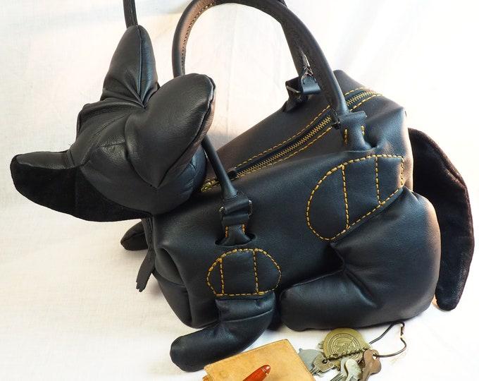 100% Leather Black Fox Purse; Custom Designed Shoulder Bag; One of a Kind Animal Pocketbook